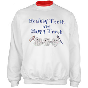 Dentist's Healthy Teeth Adult 2Fer Crew Sweatshirt
