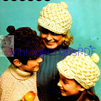 1970s Jaunty Caps-Vintage Crochet Pattern-Mod Fashion-Boho Chic-Hippie-Kids Hat-Cap-Child-Boy-Girl-Hat-Cap-Brimmed Cap-Vintage Crafts PDF