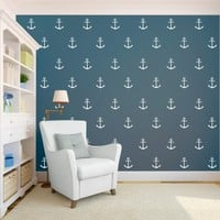 Anchor Nautical Modern Sailor Wall Pattern Removable Vinyl Wallpaper Pattern - Vinyl Wall Art Decal for Homes, Offices, Kids Rooms, Nurseries, Schools, High Schools, Colleges, Universities