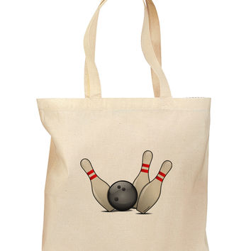 Bowling Ball with Pins Grocery Tote Bag