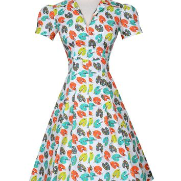 Pin up Derby Dress in Pretty Pastel Palette print