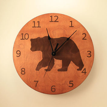 Bear laser cut clock Animal clock Wildlife clock Wood clock Wall clock Wooden wall clock Black bear Nature clock Hunting decor Woodland