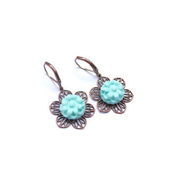 Pale Blue or Yellow Flower Earrings. Daisy Drop Earrings. Antique Brass. Flower Jewelry. Handmade