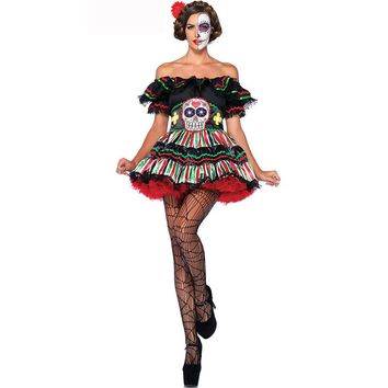 New Adult Skeleton Day of The Dead Costume Women's Sexy Sugar Skull Dia Flower Fairy Halloween Ghost Vampire Bride Fancy Dress