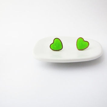 Neon green heart stud earrings. Simple posts. Geometric studs. Everyday post earrings. Fall trends polymer clay