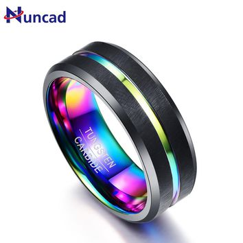Nuncad 8MM wide Black Matte Plating Colorful Slotted Tungsten Steel Ring Anniversary gift Tungsten rings for men's Jewelry T084R