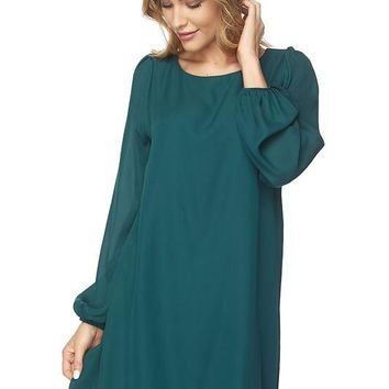 Long Bell Sleeve Shift Dress