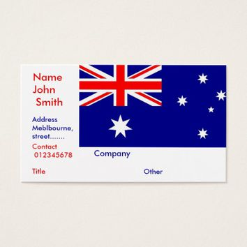 Business Card with Flag of Australia