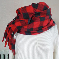 Red Plaid Scarf, Buffalo Check, Plaid Fleece Scarf, Winter Scarf, Womens Scarf, Mens Scarf, Oversized Scarf, Extra Long, Extra Wide Scarf