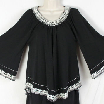Chrissa & Co Top S P Size Black Bell Sleeve Embroidered Accent Boho Hippy Blouse
