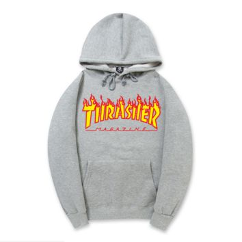 """Thrasher""New flame thickening hoodies sweater letters and line Grey"