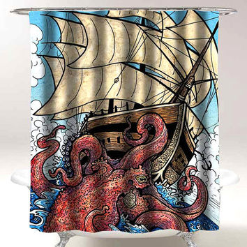 octopus attack shower curtain bathroom decor