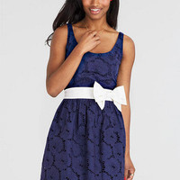 Bow Belted Eyelet Dress