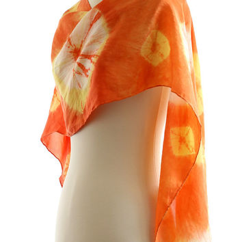 Orange silk scarf, naturally dyed scarf, tie dye shibori silk shawl, orange yellow silk, habotai hand dyed long shawl, madder weld dyed