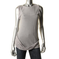 Fluxus Womens Knit Shirred Casual Top