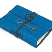 Blue Leather Journal with Heart Key Bookmark