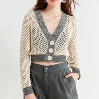 UO Zola Open-Stitch Cropped Cardigan | Urban Outfitters