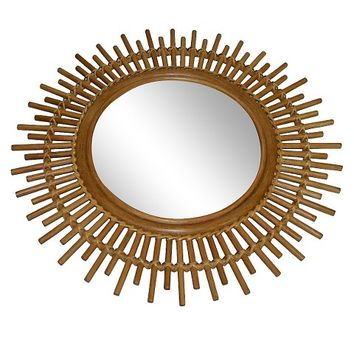 Threshold™ Linear Rattan Round Wall Mirror