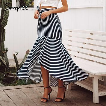 Simplee Elegant lace up stripe trumpet skirt Mermaid high waist women long pleated skirt Autumn winter casual skirts high street