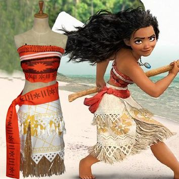 Amuybeen 2017 Summer Sleeveless Dress Moana Cosplay Costume Polynesia Carnival Halloween Easter Mother&kids Princess Girl Dress