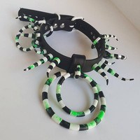 Betelgeuse- Vegan Leather Spiked Beetlejuice Halloween BDSM Bondage Goth O Ring Collar