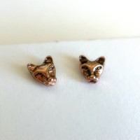 Tiny Cat Earrings - Rose Gold