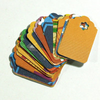 25 Small Paper Gift Tags: Bright Color Small Gift Tags - Assorted Paper Hang Tags - 1 inch hand punched tags - Orange, Red, Blue, Green