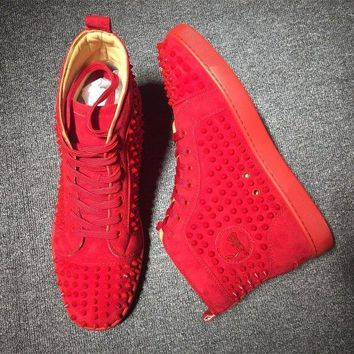 DCCK Cl Christian Louboutin Louis Spikes Mid Style #1808 Sneakers Fashion Shoes
