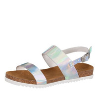 Hologram Silver Vegan Leather Sandals