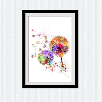 Dandelion poster Flower watercolor print Dandelion decor art Home decoration Living room wall art Kids room decor Wall hanging art W437