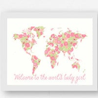 Girl Baby Shower Gifts, Pink Map of the World with Flowers, Nursery Room Decor, Nursery Room - Animal Wall Art  - Baby Art