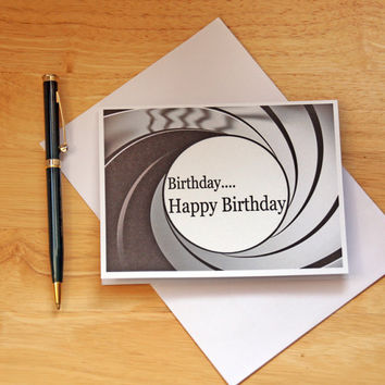 Happy Birthday Card, James Bond Card, Card For Him, Card For Her, Card For James Bond Fan, Gun Barrel, 007 Card