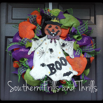 Halloween Wreath, Ghost Wreath, Halloween Deco Mesh Wreath, Deco Mesh Wreath, Autumn Wreath, Burlap Wreath, Jute Wreath