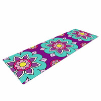 "Sarah Oelerich ""Bright Blossoms"" Aqua Purple Yoga Mat"