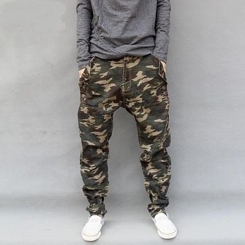 Military Style Camouflage Jeans Mens 2017 New Fashion Camo Harem Jeans Drop Crotch Free Shipping