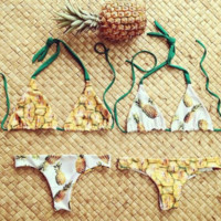 HOT CUTE  TWO SIDES WEAR YELLOW SEXY PINEAPPLE TWO PIECE BIKINIS