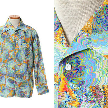 Vintage Mod 70s Rainbow Kaliedoscope Disco Shirt 1970s Mod Acid Watercolors Boogie Nights Saturday Fever Party Shirt / mens XL