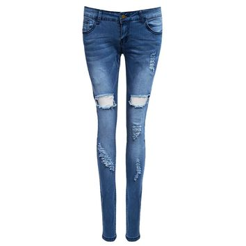 Trendy Mid Waist Skinny Destroyed Jeans for Women
