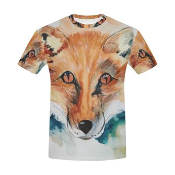 Fox Painting All Over Print T-Shirt for Men (USA Size) (Model T40)