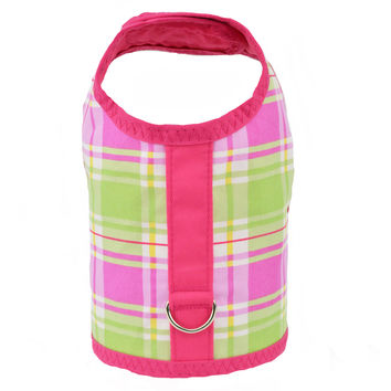 Pink and Green Plaid Dog Vest Harness