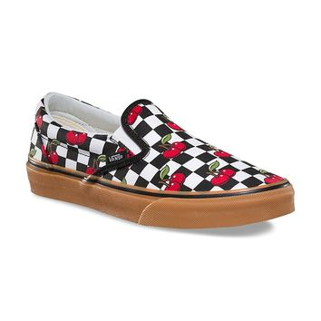 Vans Classic Slip On Women Shoes Cherry Checkerboard Sneakers Unisex