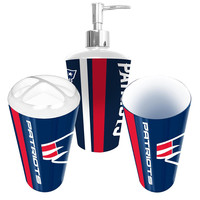 New England Patriots NFL Bath Tumbler, Toothbrush Holder & Soap Pump (3pc Set)