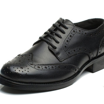 U-lite Women's Perforated Lace-up Wingtip Leather Flat Oxfords Vintage Oxford Shoes Brogues Black 6.5 B(M) US '