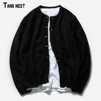 TANGNEST Men Cardigans Black 2017 New Spring Men's Solid Casual Cardigans Asian Size Basic Sweaters Slim Fit MZL730