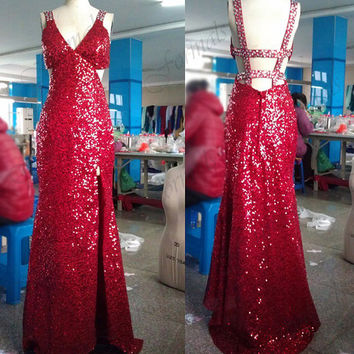 Sequin Prom Dresses, Sexy Prom Gown, Straps Sequined Long Red Prom Dresseswith Silt, Evening Gown, Wedding party Dresses, Formal Gown