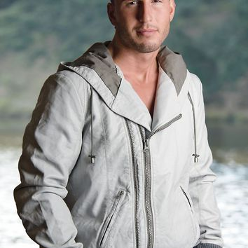 Twoce Light-Grey Contrast Faux-Leather Hooded Jacket