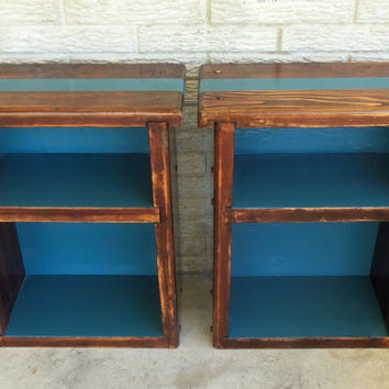 Pair Wood Nightstands Storage Solid Rustic 2 Blue Turquoise Shelf Shelves Bookcase Mid Century Modern Furniture Vintage Painted Home Decor