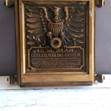 Antique Cutler Mail Box/ Cutler Mail Chute/ Antique Brass Mail Slot/ Antique Post Office Collectible/ Vintage Mail Box
