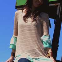 Bellamie Tan Knit Sheer Top with Mint Chiffon and White Lace Trim