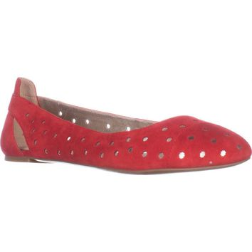 Nine West Marie Cutout Ballet Flats, Red Suede, 5.5 US